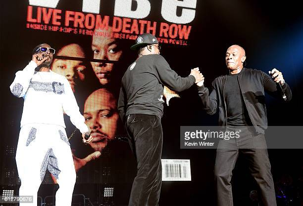 Snoop Dogg Sean 'Diddy' Combs and Dr Dre perform onstage during the Bad Boy Family Reunion Tour at The Forum on October 4 2016 in Inglewood California