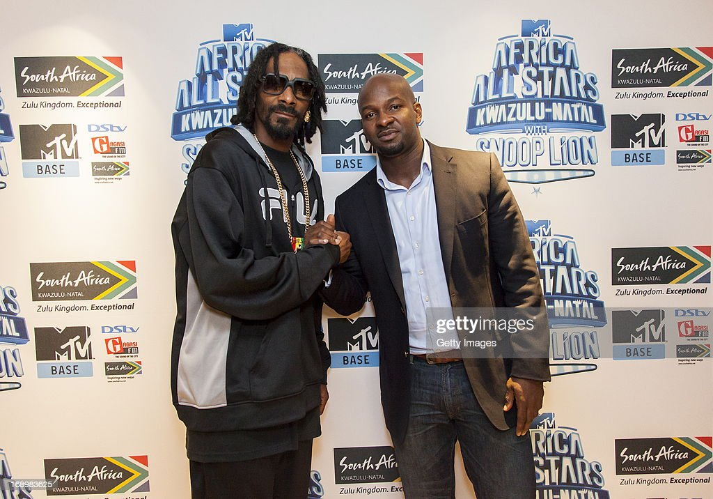 Snoop Lion and Alex Okosi pictured at the press conference for MTV Africa All Stars KwaZulu-Natal with Snoop Lion at Beverly Hills Hotel on May17, 2012 in Durban, South Africa.