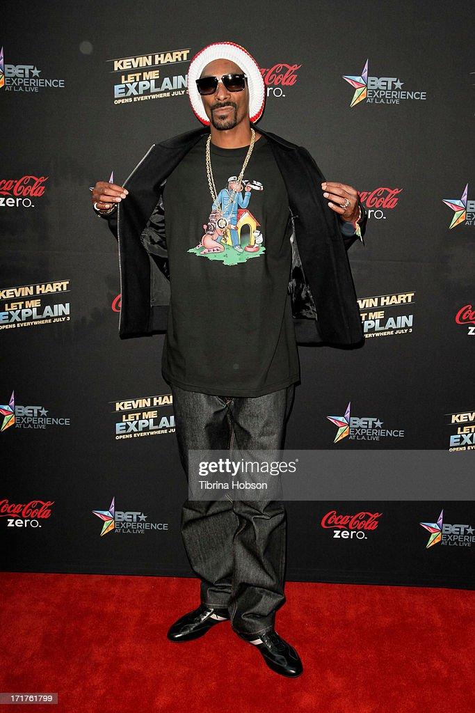 Snoop Lion attends the 'Kevin Hart Let Me Explain' Los Angeles premiere at Regal Cinemas LA Live on June 27 2013 in Los Angeles California