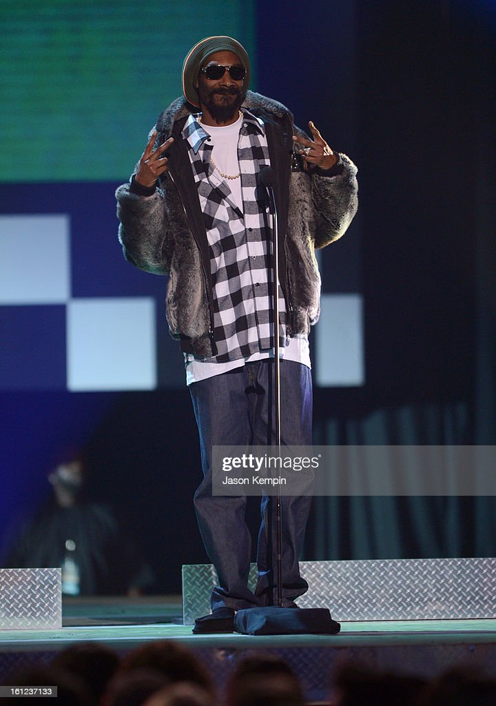 Snoop Lion speaks onstage at the Third Annual Hall of Game Awards hosted by Cartoon Network at Barker Hangar on February 9, 2013 in Santa Monica, California. 23270_003_JK_0643.JPG