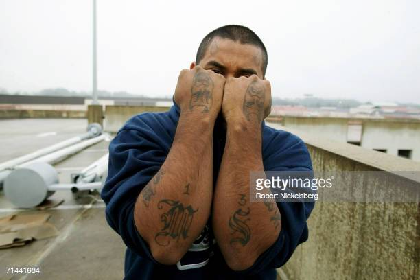 Snoopy 20 years shows off his gang tattoos on January 23 2006 in Durham North Carolina Going by his street name Snoopy an Americanborn citizen of El...