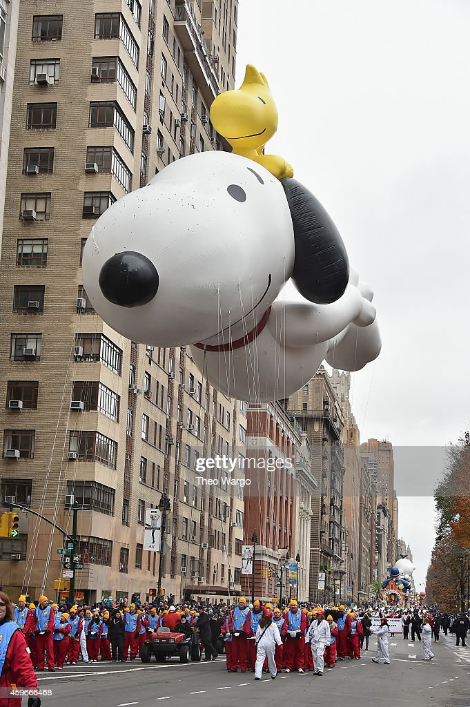 Snoopy balloon during the 88th Annual Macy's Thanksgiving Day Parade on November 27 2014 in New York City