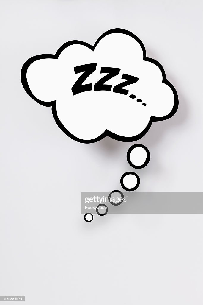 Snoring sign in thought bubble against gray background