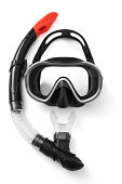Snorkel and mask for diving on white background
