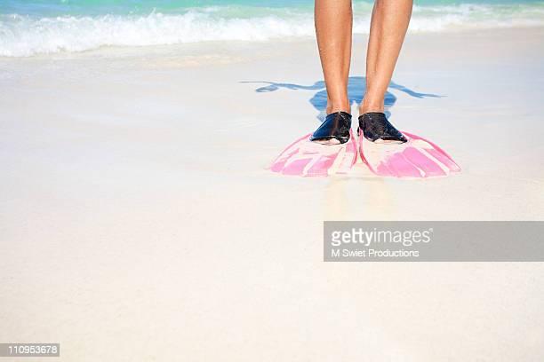 Snorkel flippers beach