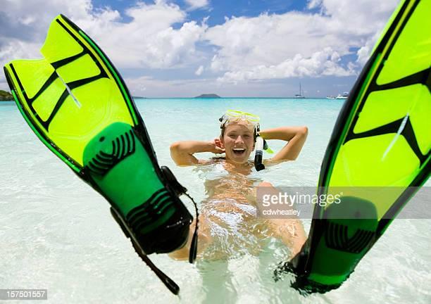 snorkel fun at the tropical beach