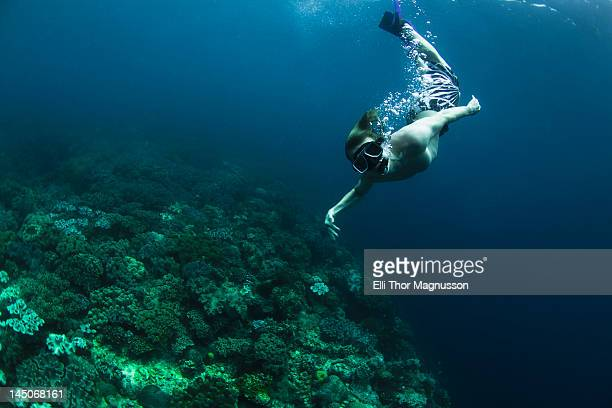 Snorkeler swimming in coral reef
