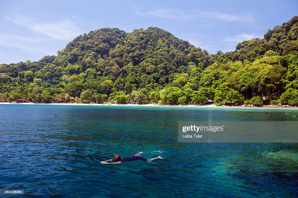 Snorkeling at Pulau Tenggol an island off peninsular Malaysia's east coast a predominantly Muslim Malay inhabited seashore which boasts some of the...