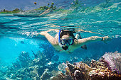 Young women snorkeling in Carribean sea, Mexico