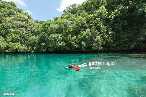 Snorkeling in tropical lagoon, Palau