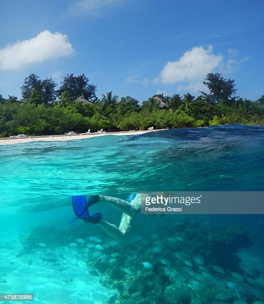 Snorkeling on the house reef at Rannalhi