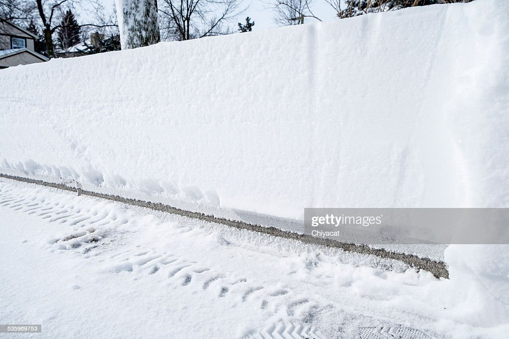 Snow Accumulation on a Driveway : Stock Photo
