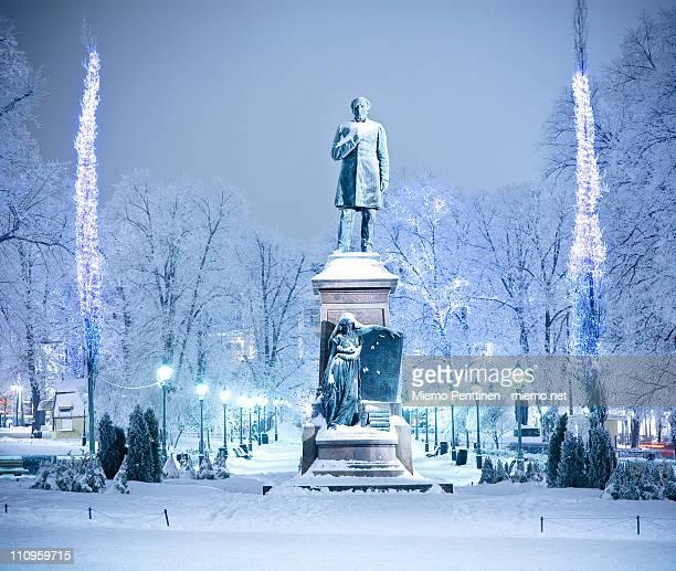 Snow and frost in Esplanadi park in Helsinki