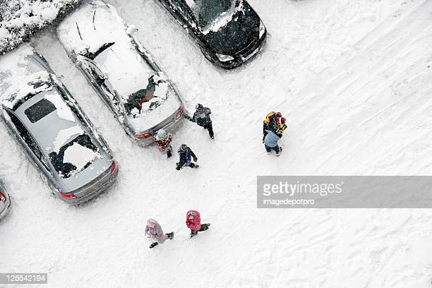 snow and kids