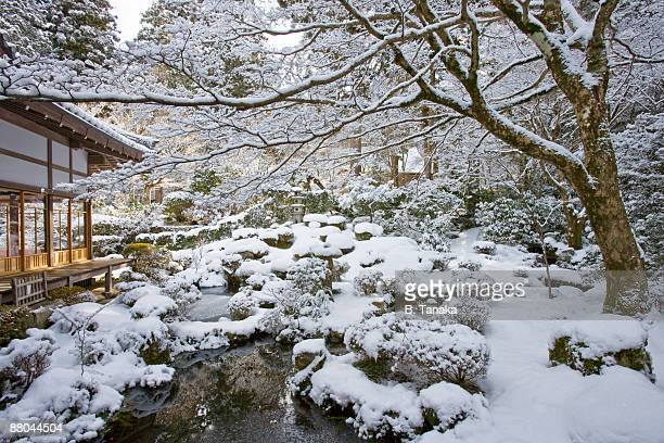 Snow at Sanzen-in Temple in Kyoto, Japan
