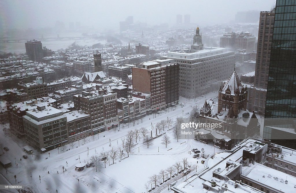 Snow blankets Copley Square during a lingering blizzard on February 9, 2013 in Boston, Massachusetts. The powerful storm has knocked out power to 650,000 and dumped more than two feet of snow in parts of New England.