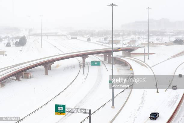 Snow blankets Marsha Sharp Freeway on US Highway 82 on December 27 2015 in Lubbock Texas Coming on the heels of several strong tornadoes some...