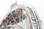 Snow blankets the Coney Island Cyclone roller coaster during a morning snow storm February 22 2008 in the Brooklyn borough of New York City A larger...