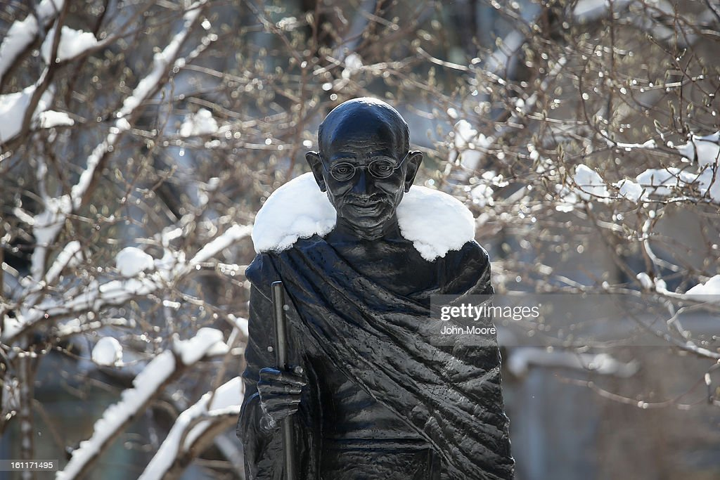 Snow blankets the shoulders of a statue of Mahatma Gandhi in Union Sqaure on February 9, 2013 in New York City. Much of the city received almost a foot of snow, as New York was spared the worst of the massive snow storm that hit the U.S. Northeast.