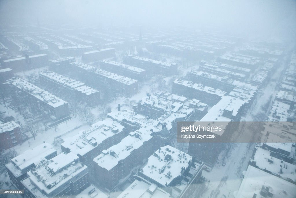 Snow blankets the South End neighborhood during a blizzard on January 27 2015 in Boston Massachusetts Up to three feet of snow is expected to hit...