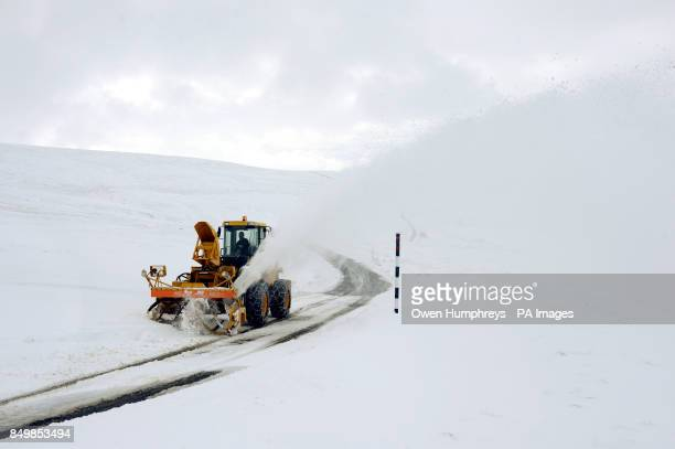 A snow blower clears the road on the way to Allenheads in Northumberland after more heavy snow hit the region