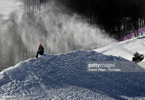 A snow blower is seen at the slopestyle course Rosa Khutor Extreme Park Rosa Khutor Extreme Park Sochi Russia