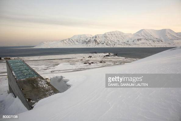 Snow blows off the Svalbard Global Seed Vault before its official inauguration at sunrise on February 26 2008 in Longyearbyen The Global Seed Vault...