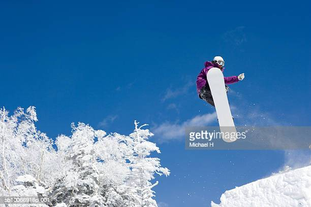Snow boarder mid air on slope
