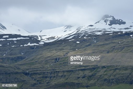 Snow Capped Mountains in South Iceland : Stock Photo