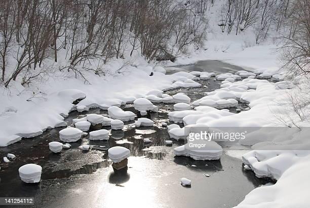 Snow capped stones