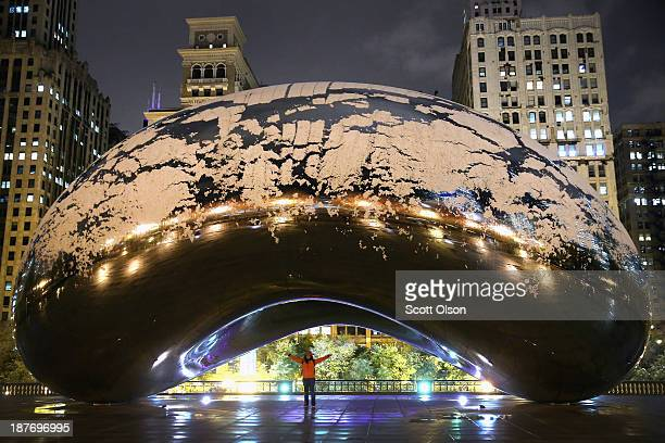 Snow collects on Cloud Gate in Milennium Park on November 11 2013 in Chicago Illinois The snowfall was the first of the season for the city