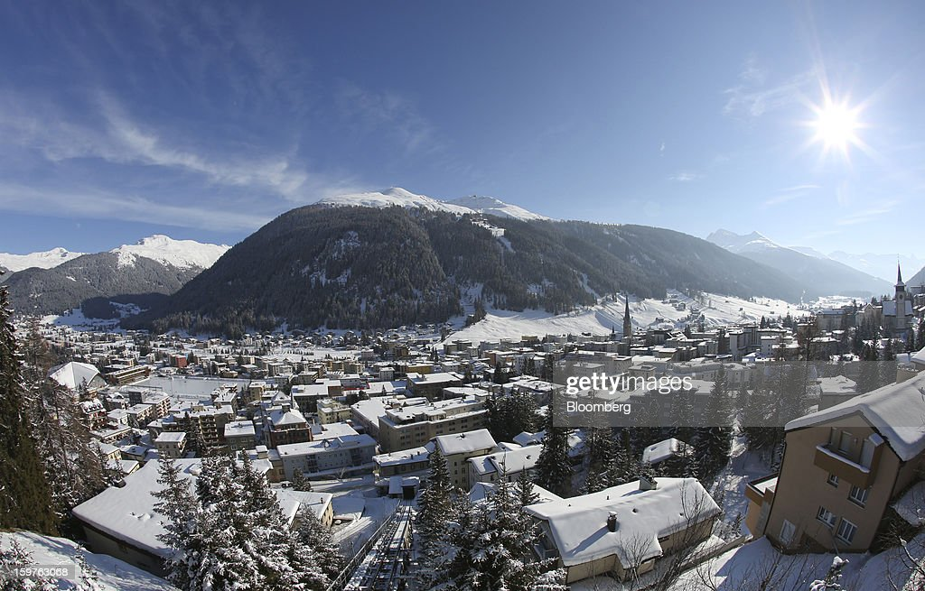 Snow covered buildings are viewed from the Schatzalp area above the town of Davos, Switzerland, on Friday, Jan. 18, 2013. Next week the business elite gathers in the Swiss Alps for the 43rd annual meeting of the World Economic Forum in Davos, the five day event runs from Jan. 23-27. Photographer: Chris Ratcliffe/Bloomberg via Getty Images