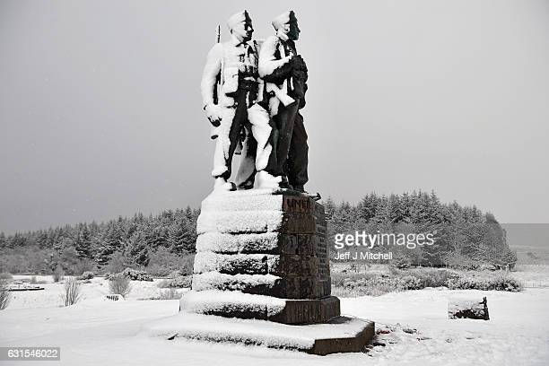 A snow covered Commando Memorial as a cold weather sweeps across much of the UK on January 12 2017 in Spean Bridge Scotland The Met Office has issued...