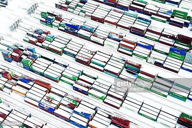 Snow covered containers create a pattern in the port of Rotterdam The Netherlands on January 15 2013 Most of Holland is covered by a thick white...