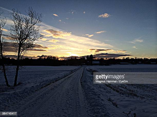 Snow Covered Country Road Leading To Village