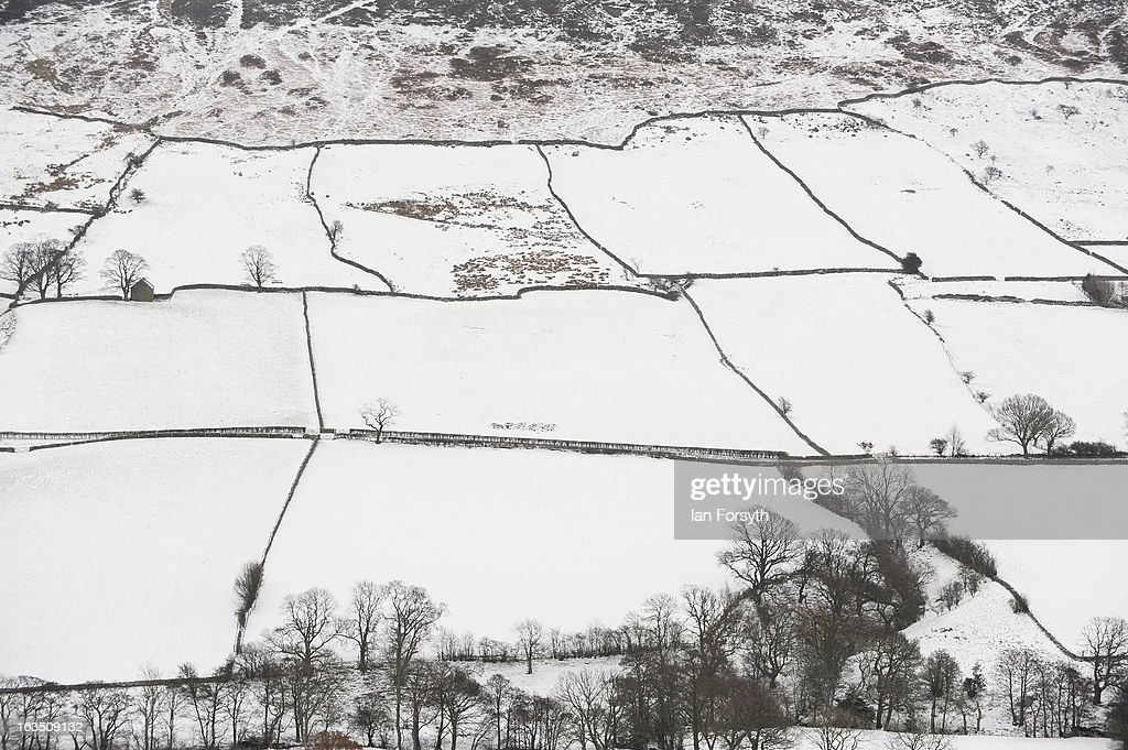 Snow covered fields on the Yorkshire Moors on March 11, 2013 in Yorkshire, United Kingdom. In a return to wintery conditions snow fell across many parts of the country. Wintery weather returned to the UK as snow fell across many parts of the country, with a number of weather warnings being issued.
