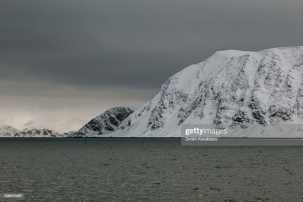 Snow covered fjords in Honningsvåg, Mageroya island