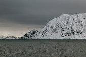 Snow covered fjords in Honningsvåg, Mageroya island