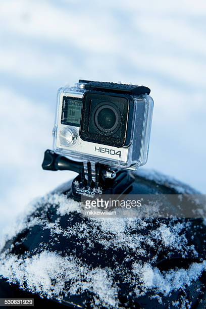 Snow covered helmet with GoPro Hero 4