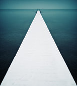 Snow covered jetty, Lake Chiemsee