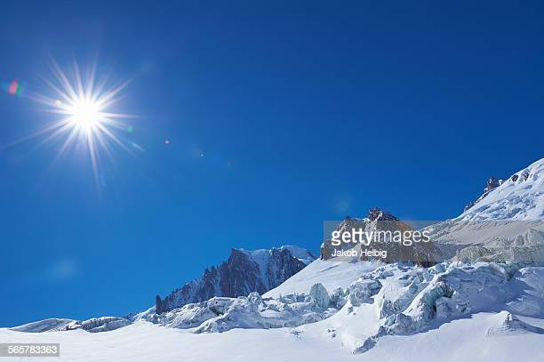 Snow covered landscape and blue sky, Mont Blanc massif, Graian Alps, France