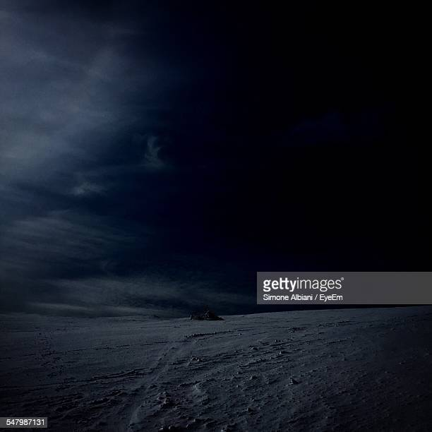 Snow Covered Landscape At Night