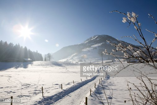 Snow covered landscape, Kirchberg, Tirol, Austria : Stock Photo