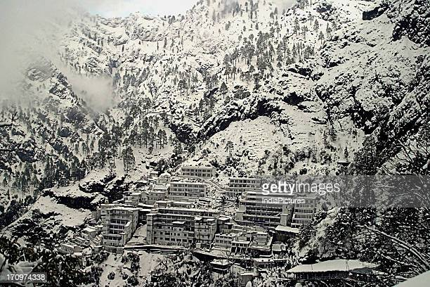 Snow covered Mata Vaishno Devi Temple in Katra town of Jammu and Kashmir India