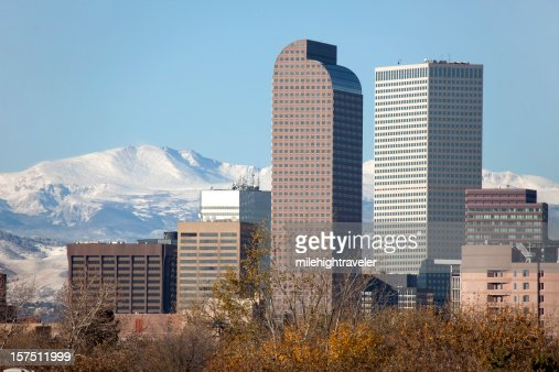 Snow Covered Mount Evans and Downtown Denver, Colorado