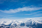 Snow covered mountain tops in the French Alps