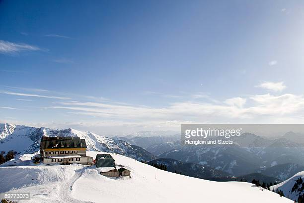 snow covered mountains, alpine hut