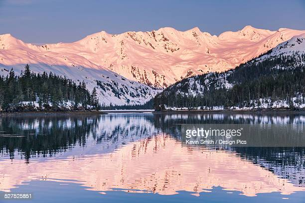 Snow covered mountains and shoreline with trees reflected in the waters of Harrison Lagoon, Chugach National Forest