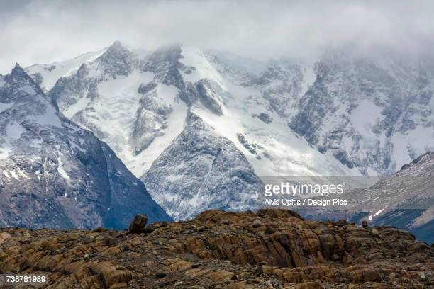 Snow covered mountains in Torre del Paine National Park in Chilean Patagonia