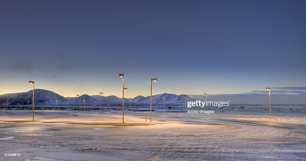 Snow covered parking lot : Stock Photo